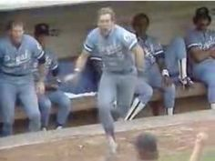 """A crazed George Brett charging the umpire during the """"Pine Tar Game"""" on July 24, 1983."""