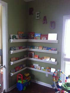 Reading nook made from rain gutters, playroom ideas