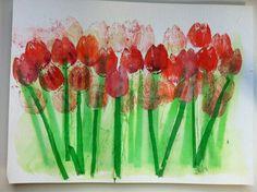 Tulp stempelen  stelen van zijdevloei