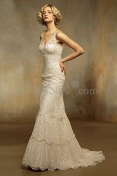 Tiered lace wedding dress - vintage style