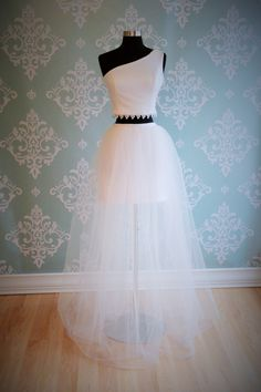 Crop Top Two Piece Wedding Dress, PRINCESS POPPY, One Shoulder, Boho Beach by FrenchKnotCouture on Etsy https://www.etsy.com/listing/222005743/crop-top-two-piece-wedding-dress