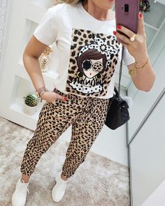 Style:Fashion Pattern Type:Leopard Material:Polyester Neckline:Round Neck Sleeve Style:Short Sleeve Length:Long Occasion:Casual Package Include:Top & Pant Sets Note: There might be difference a. Big Girl Fashion, Style Fashion, Leopard Print Shorts, Womens Fashion Online, Casual Tops, Pattern Fashion, Sleeve Styles, Amazing Women, Lounge Wear