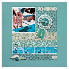 by @Lisa Dickinson -- admiring so many things that make this blocked design fresh - the title bleeding off, the raised strip of photos, the narrow white mats that set the photos apart, the look of this awesome new paper from Studio Calico.