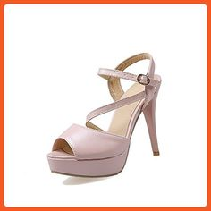 VogueZone009 Women's Pu Solid Buckle Peep Toe Spikes Stilettos Heeled-Sandals, Pink, 42 - Sandals for women (*Amazon Partner-Link)