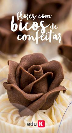 Aprenda a fazer essas flores de chocolate com bico de confeitar :)