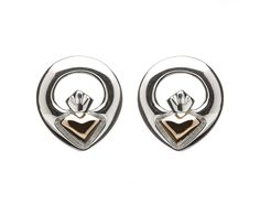 Sterling Silver & Rose gold Claddagh stud earrings heart made from Rare Irish gold Irish Jewelry, Gold Jewelry, Heart Face, Heart Ring, Claddagh Rings, Two By Two, Rose Gold, Stud Earrings, Pure Products