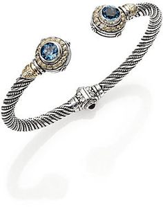 Konstantino Hermione London Blue Topaz, 18K Yellow Gold & Sterling Silver Petite Cuff Bracelet on shopstyle.com