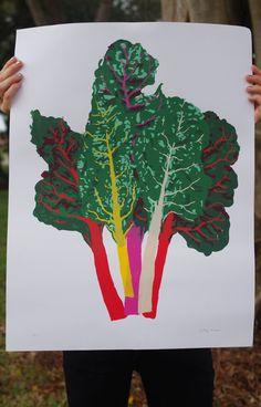 Winter Harvest: Rainbow Chard Bundle Silkscreen Print.
