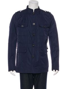Men's navy Gucci field jacket with epaulets, four flap pockets and button closures. From the Spring 2007 Collection.
