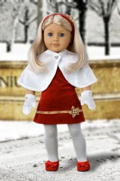 DreamWorld Collections Happy Holidays - Red velvet sparkling holiday party dress with white tights, red sparkling shoes and decorative head band. (Cape & Mittens sold separately) Fits 18 inch American Girl dolls. : Special Occasion Doll Dresses