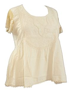 Gretty Zueger Plus Peruvian Cotton Peplum Top in Natural 1X-3X