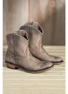 Liberty Black American Distressed Leather Ankle Cowboy Boots