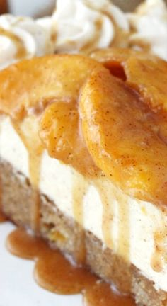 Peach Caramel Blondie Cheesecake ~ The stuff dreams are made of... A peach and cinnamon filled blondie is topped with caramel no bake cheesecake, cinnamon peaches and caramel sauce - There is no better way to enjoy some peaches this summer!