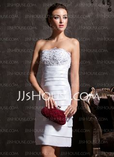 Wedding Dresses - $99.99 - Sheath/Column Strapless Knee-Length Taffeta Wedding Dress With Lace Beadwork (002011535) http://jjshouse.com/Sheath-Column-Strapless-Knee-Length-Taffeta-Wedding-Dress-With-Lace-Beadwork-002011535-g11535