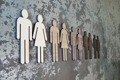 Extra Large Wooden Restroom Figures WC Signage 8