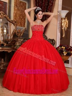 50b14a4f42 Quinceanera Dresses shop offers Elegant Sweet 16 Dresses - Romantic Red  Sweet 16 Quinceanera Dress Strapless Tulle Beading Ball Gown