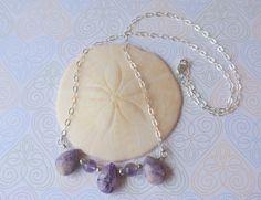 Sterling Silver Purple Gemstone Necklace  by DesignedByDonnaD.etsy.com