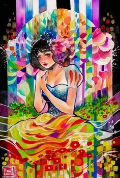 Snow White colorful cartoon illustration via www.Facebook.com/DisneylandForMisfits