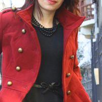 Fashion for petite women: Cherry-coloured coat and black dress --> Palton visiniu clos si rochita neagra http://migdelia.wordpress.com/2014/01/08/palton-visiniu-clos-si-rochita-neagra/