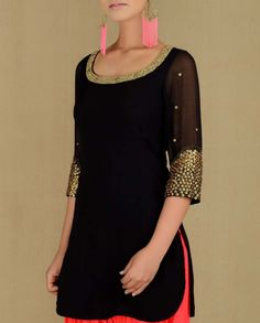 Black Suit with Bejewelled Neckline- Buy Suits,,Madsam Tinzin Online Punjabi Fashion, Ethnic Fashion, Asian Fashion, Women's Fashion, Indian Attire, Indian Ethnic Wear, Indian Blouse, Pakistani Outfits, Indian Outfits