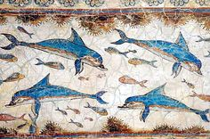 Fresco of Dolphins from the excavations of Knossos on the Greek island of Crete, showing the typical white-and-blue color scheme.