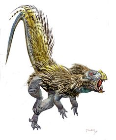 :  Tell me now that feathered dinosaurs aren't freaking terrifying! And this one is just a little one, maximum three metres. Oh, and Heterodontosaurs are also herbivores. So… not very dangerous at all. Honestly, though, this little guy is nightmare fuel compared to the cute imagesI grew up with in my dinosaur books.Art by Luis V Rey