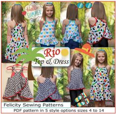 Sewing pattern girls dress and top RIO TOP & DRESS sizes 4