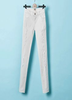 Hole Slim #stretch #pencil #pants, five colors options: white, black, mint green, orange