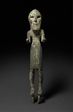 Statuette of a Standing Warrior Early Bronze Age Syria-Levant The style of the figure is related to early third millennium BC bronzes found near Antioch in Syria, and it may be a later example in the same tradition. Said to be found in the Jezzine mountains of Lebanon in 1948. Source: Metropolitan Museum