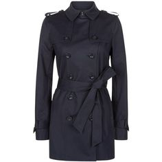 Hobbs Sara Double Breasted Mac, Navy ($245) ❤ liked on Polyvore featuring outerwear, coats, tie belt, cotton coat, navy blue trench coat, double-breasted coat and navy trench coat