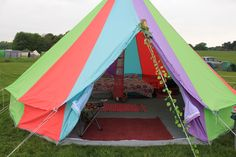 front of bell tent