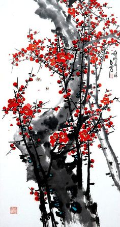(North Korea) Red Plum Blossom by Oh Young-seong ) Japanese Art Modern, Japanese Artwork, Japanese Artists, Ink Painting, Watercolor Art, Red Cherry Blossom, Jesus Pictures, China Art, Zen Art