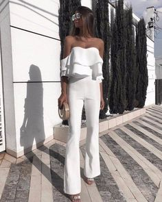 Shop Solid Ruffled Design Off Shoulder Jumpsuit right now, get great deals at joyshoetique White Outfits, Classy Outfits, Summer Outfits, Classy Casual, Look Fashion, Fashion Outfits, Womens Fashion, Fashion Trends, Fashion Beauty