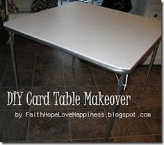Recover the old card table before your  grandkids come for Thanksgiving! It only takes a vinyl tablecloth from the dollar store, a half hour and a staple gun!