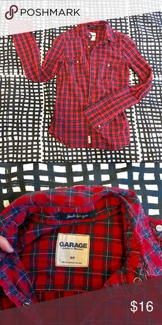 Garage plaid shirt 💐 great color, good condition, worn couple times only Garage Tops Button Down Shirts