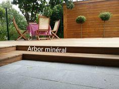 Terrasse bois terrasse pierre | Arbor Minéral Vannes Morbihan Outdoor Furniture, Outdoor Decor, Bench, Design, Home Decor, Gardens, Hidden Pictures, Landscape Planner, Decoration Home