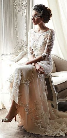 AHHHH THIS IS AMAZING the dress, the shoes, THE VEIL, the hair! {Chief brides…