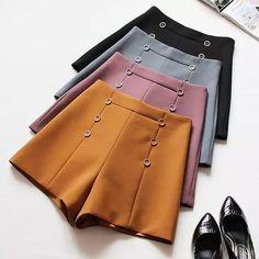 Teen Fashion, Korean Fashion, Fashion Outfits, Womens Fashion, Ladies Fashion, High Waisted Shorts, Casual Shorts, China Mode, Vetement Fashion