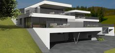 Kötz Haus - Architects& Houses - new and individually planned - Kötz Haus – Architects& Houses – new and individually planned - Modern Japanese Architecture, Minimalist Architecture, Architecture Design, Building Facade, Building A House, Modern Villa Design, Hillside House, Modern Mansion, Architect House