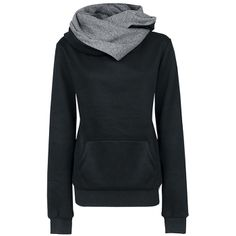 Criss-Cross Stitching Collar Large Pocket Cotton Blend Solid Color Hoodie For Women (BLACK,S) | Sammydress.com