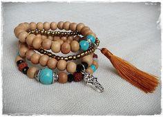 Yoga bracelet stack  set of 4 stretchie by Brightnewpenny on Etsy, $25.00