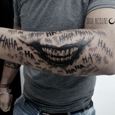 Forarm Tattoos, Dope Tattoos, Badass Tattoos, Hand Tattoos, Venom Tattoo, Batman Tattoo, Cover Up Tattoos For Men, Tattoos For Guys, Joker Smile Hand Tattoo