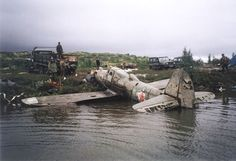 Miss Lend-Lease, designated White 23 when it flew for the Soviet Air Force, emerges from Lake Mart-Yavr, Russia, along the Arctic Circle. The initial ditching was successful but the aircraft eventually broke through the still thin ice in November 1944.