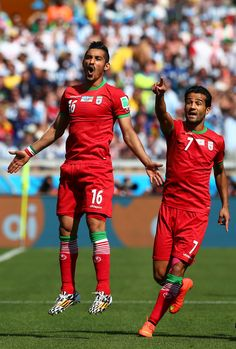 Ghoochannejhad reacts against Argentina - Reza Ghoochannejhad and Masoud Shojaei of Iran react during the 2014 FIFA World Cup Group F match against Argentina at Estadio Mineirao on June 2014 in Belo Horizonte, Brazil. Iran World Cup, World Cup Groups, Need To Meet, My Life Style, World Football, Water Polo, World Cup 2014, Soccer, Volleyball