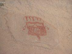 Prehistorische rotstekening van een masker, Mexico