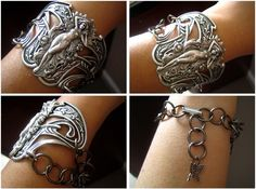 Vintage sterling silver plated brass art nouveau goddess statement wrist cuff, B95