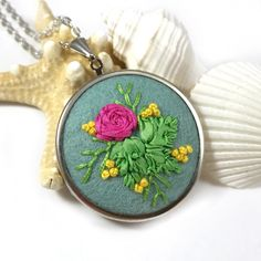 Unique hand embroidered floral statement necklace