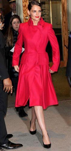 Katie Holmes red winter coat