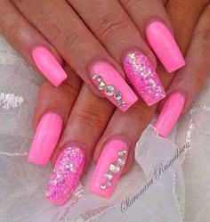 A manicure is a cosmetic elegance therapy for the finger nails and hands. A manicure could deal with just the Barbie Pink Nails, Hot Pink Nails, Toe Nail Designs, Acrylic Nail Designs, Classy Nails, Simple Nails, Acryl Nails, Rhinestone Nails, Glitter Nail Art