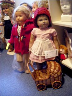 Two of my Käthe Kruse dolls. The right doll is in bad shape. But she has original clothes. ( not the cap)
